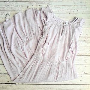NWT OLD NAVY Lilac Swiss Dot Prairie Dress Midi M